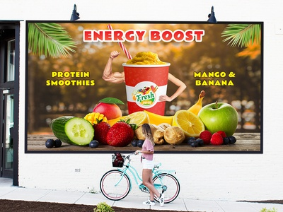 Fresh Juice Protein Poster pos shake protein dribbble fresh juice fresh banner poster vector juice branding inspiration illustration ui ux design logo graphic design
