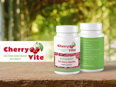 Cherry Vite Capsules psd mockup capsule capsules medicine bottle packaging design logo branding inspiration dribbble design health care health supplement health healthcare
