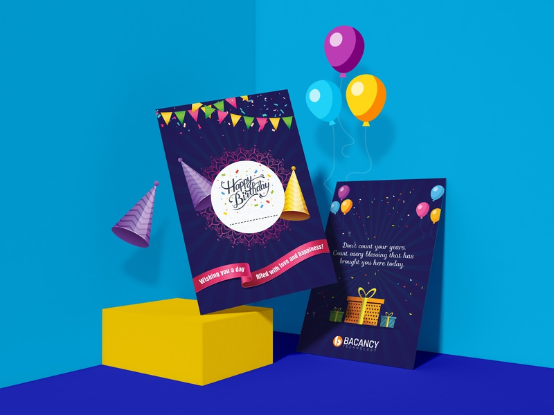 Happy Birthday Card landingpage homepage bacancy technology technology illustration event free psd free happy birthday birthday happy birthday card ui ux design ui ux graphic branding inspiration dribbble design