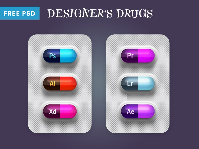 Designer Drugs PSD capsule graphic inspiration dribbble tablet download designer free psd psd free after effects light room premiere pro adobe xd illustrator photoshop medicine drugs capsules