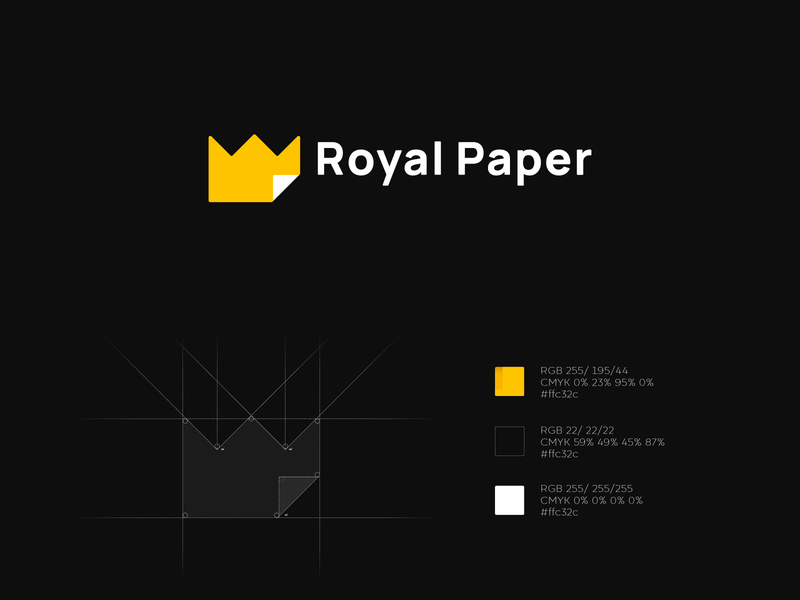 Royal Paper chancellery vector design branding logo minimalism office paper crown royal paper