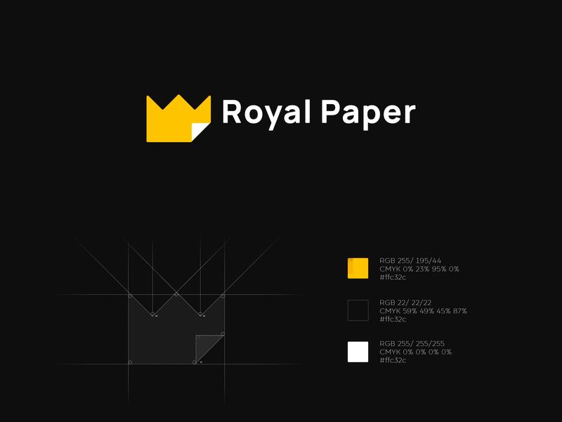 Royal Paper chancellery vector design branding logo minimalism office paper crown royal paper