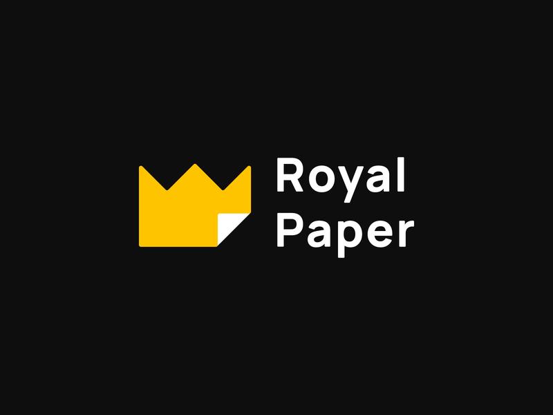 Royal Paper logoking logopaper logoroyal logos logodesign logo mark logotype logo new logo 2020 logo2020 yellow king logo office paper minimalism logo paper logo royal logo branding
