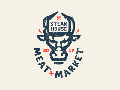 Steak house purchases supermarket veal pork retro bull meat logo meat market steak house