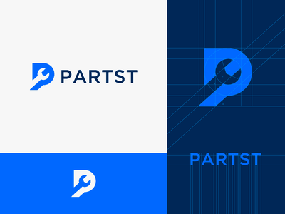 PARTST search for details p logo iron logo design branding truck logo wrench logo spare parts logo