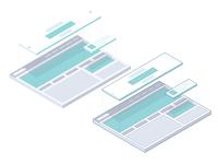 Isometric website layout illustration