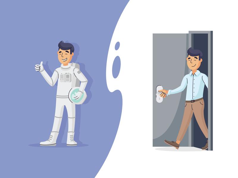 Random guy male illustration door guy astronaut