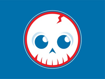 Patriotic Knucklehead circle simple design flag blue white red skull