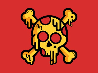 Death-By-Pizza pirate illustration mashup playoff sticker food pizza skull