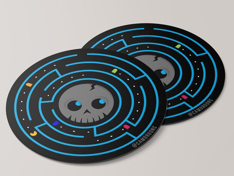 SimpleSkull Coaster clean vector design circle logo sticker illustration circles black blue fun game pac-man skull coaster