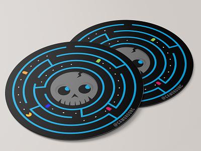 SimpleSkull Coaster clean vector design circle logo sticker illustration circles black blue fun game pac-man skull coaster