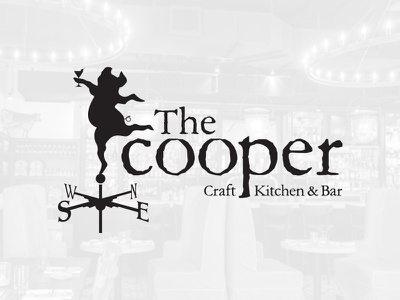 Cooper Craft Kitchen & Bar Logo craft kitchen bar cooper hidden image design farm to table martini pig brand restaurant logo
