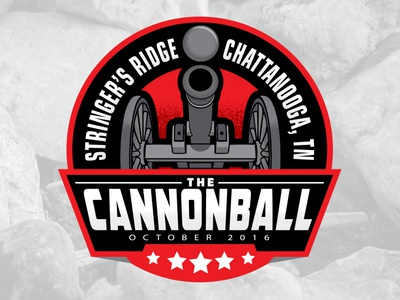 The Cannonball Run history red nose black stars tennessee medal badge circle logo cannonball cannon running