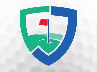 JMCF Golf Classic Branding Update green blue charity sheild flag golf logo branding badge
