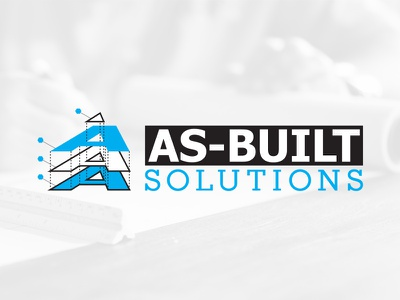 As-Built Solutions Concept layers blue black brand logo blueprints building architect engineering