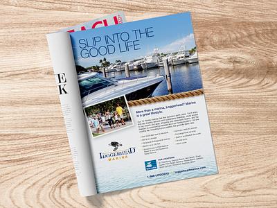 LM Magazine Ad ad agency turtles water club family boats fishing west palm beach loggerhead boating magazne ad marina