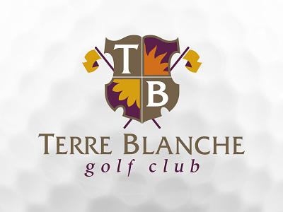 Terre Blanche Golf Club florida private club straight font flags vector club logo branding shield golf ball golf club golf
