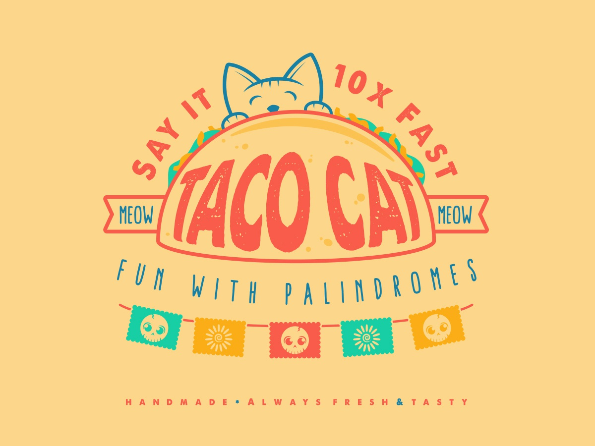 Taco Cat Palindrome muted colors sticker simple design illustration design vector kitty say it fast tacocat taco cat