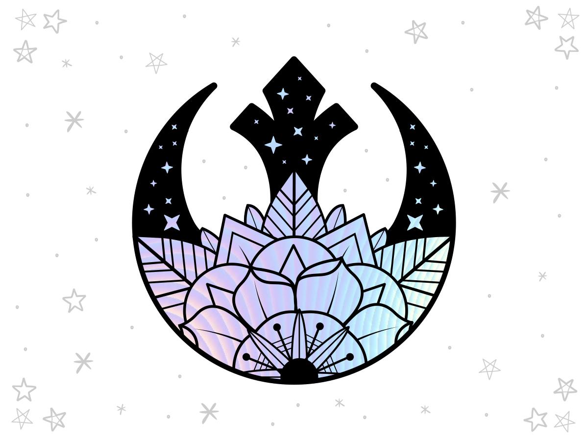Rebel Rose Hologram star wars vector design black sticker badge simple design illustration
