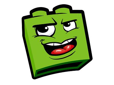 Brick-Head wip simple design green illistration cartoon head block lego