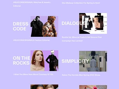 NUICONS Magazine Website fashion brand brand fashion design fashion design art animation minimal website design ux ui
