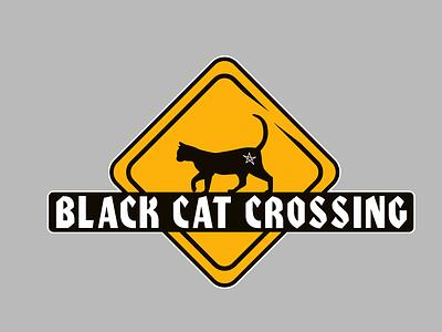 Black Cat Crossing illustrator logo