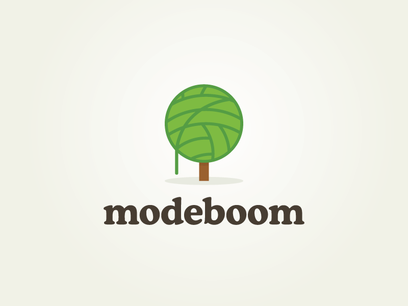 Modeboom logo mark brand identity tree fashion ball of wool ball of yarn