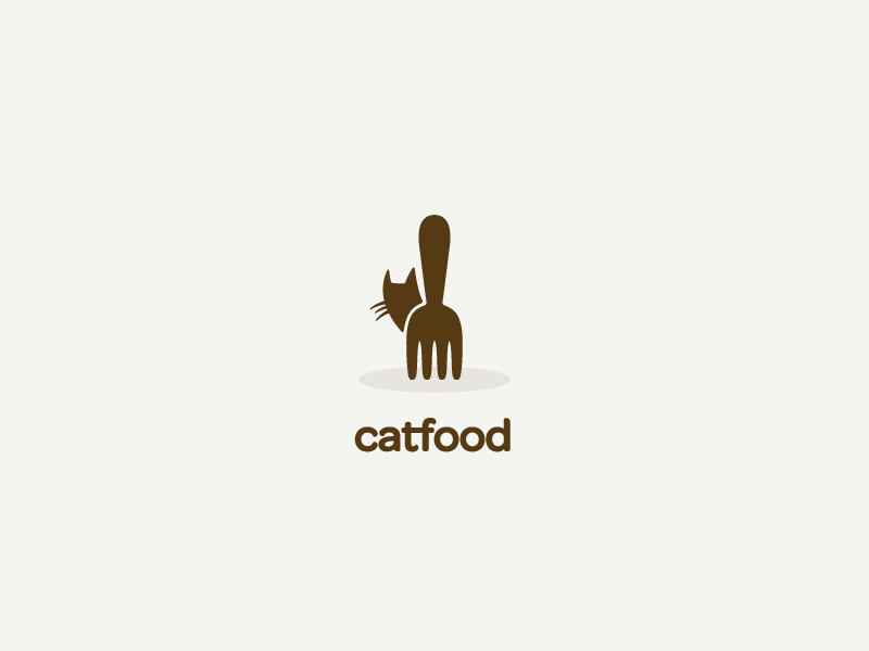 Catfood logo logo mark concept cat fork food