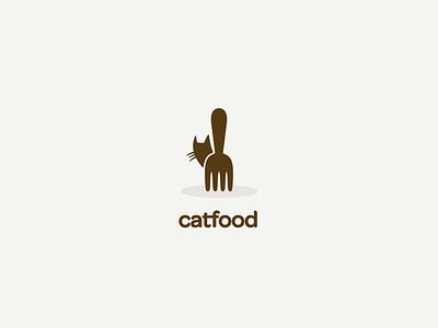 Catfood logo logo mark concept cat fork food