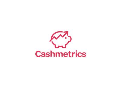 Cashmetrics logo logo mark pig piggy bank cash metrics graph
