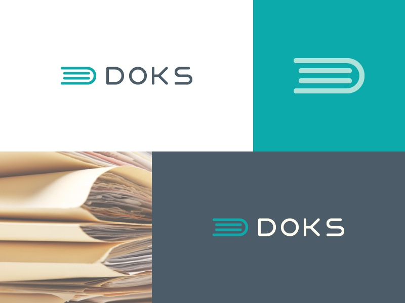 Doks logo custom type monogram minimal documents book document mark logo