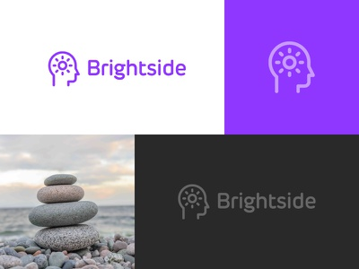 Brightside Logo minimal positive head profile sun bright brightness mark logo therapy