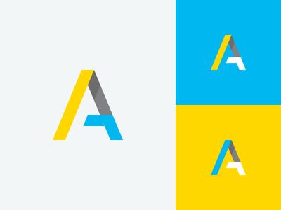 A /^ shadow capital letter a bright minimal logo