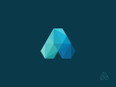 A / Hexa-Poly'ish hexagon polygon absctact letter a mark logo