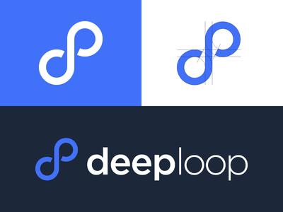 Deeploop logo speech bubble infinity loop deep deeploop mark logo