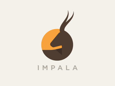 Impala impala antelope deer sun africa logo roundimals