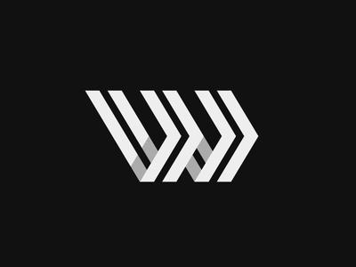 W / Forward shadow arrows forward minimal monogram w