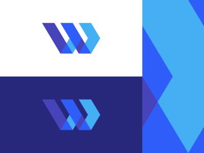 W / Movement overlay overlap movement forward monogram letter w icon mark logo