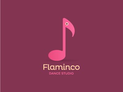 Flaminco logo symbol music note bird flamingo flamenco dance flaminco