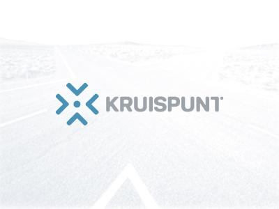 Kruispunt arrow logo mark crossroad cross point dot custom