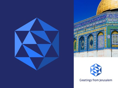Greetings from Jerusalem triangles cube jerusalem star of david star design branding simple brand minimal mark icon logo