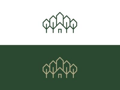 Cabin / Church / Forest logo design simple icon minimal mark logo