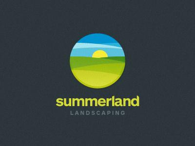 Summerland logo mark brand unused conept sun round circle fields sky summer sale for sale