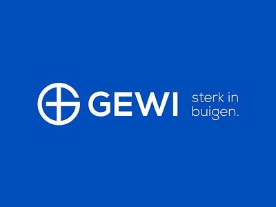 GEWI logo bending blue window round letter simple minimal icon mark logo