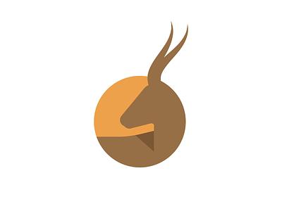 Impala impala deer logo mark round circle orange brown flat