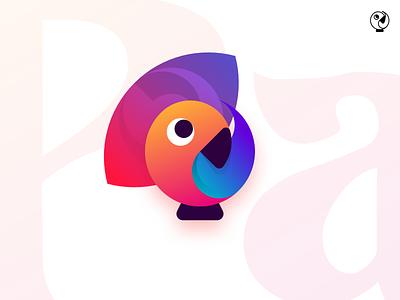 Parrot illustration unused icon gradient design vector simple flat minimalistic logo