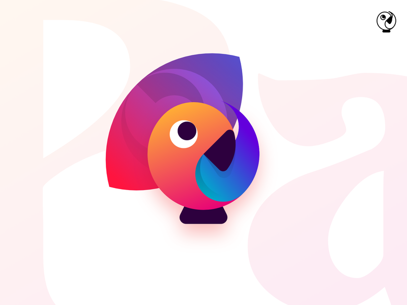 Parrot illustration unused icon gradient design vector simple flat minimalistic logo