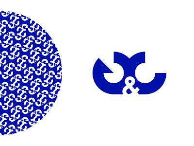 GC Logo icon vector monogram anchor flat simple minimalistic blue logo