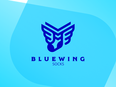 BlueWing Socks blue illustration branding 2d design vector simple flat minimalistic logo