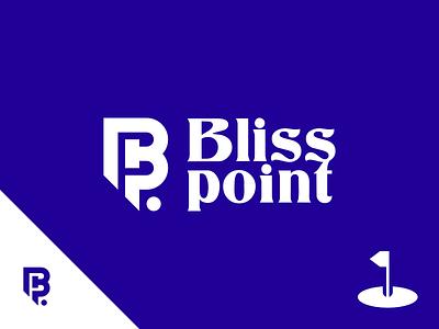 Blisspoint Logo golf blue branding 2d design vector simple flat minimalistic logo